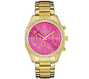 Caravelle New York Womens Crystal-Accented Pink Dial Watch - J339775