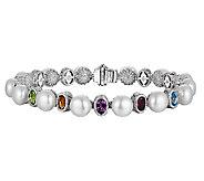 Judith Ripka Sterling Cultured Pearl & Gem 6-1/2 Bracelet - J340075