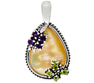 Carolyn Pollack Sterling Golden Mother of Pearl Butterfly Enhancer - J347675