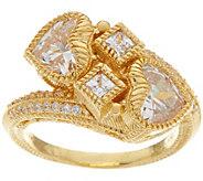 Judith Ripka Sterling or 14K Clad 3.60 cttw Diamonique Heart Ring - J348075