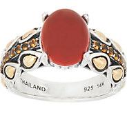 JAI Sterling & 14K Cabochon & Pave Lotus Band Ring - J350275