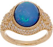 Judith Ripka 14K Gold Opal Doublet & 3/4 cttw Diamond Ring - J352275