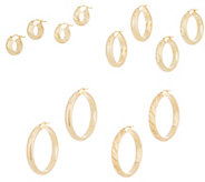 Italian Gold Polished or Satin Twist Hoop Earrings 14K Gold - J356475