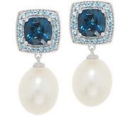 Honora Pearl and Gemstone Drop Earrings, 2.20 cttw, Sterling Silver - J357475