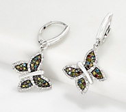 Affinity Sterling Silver Rainbow Diamond Butterfly Earrings, 1/2 - J360575