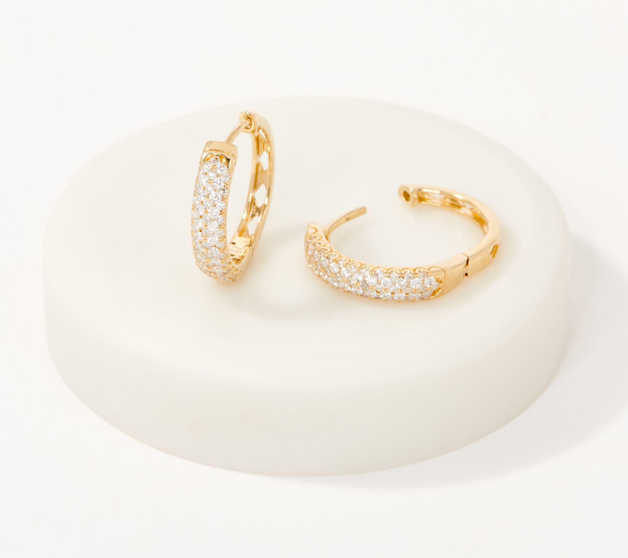 Save 43% on 14K gold diamond hoop earrings
