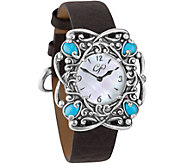 Carolyn Pollack Sterling Sleeping Beauty Turquoise Watch - J376375
