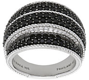 Judith Ripka Sterling Black Spinel & DiamoniquePave Ring - J384075
