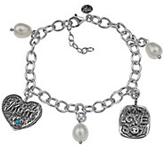 Or Paz Sterling Silver Cultured Pearl Charm Bracelet - J384175