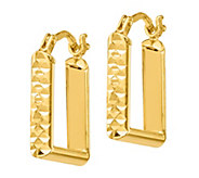 Italian Gold Square Hoop Earrings, 14K - J385675