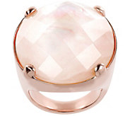 Bronzo Italia Mother-of-Pearl Faceted Oval Doublet Ring - J385975