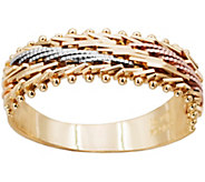 Imperial Gold Tri-Color Diagonal Mirror Bar Ring, 14K - J388775