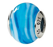 Prerogatives Sterling Blue Swirls Italian Murano Glass Bead - J111576