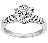 Diamonique 2.50 cttw Round & Baguette Ring, Platinum Clad - J111676