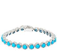 Sleeping Beauty Turquoise 6-3/4 Sterling Diamond Cut Tennis Bracelet - J326476