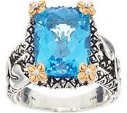 Barbara Bixby Sterling & 18K 9.50 cts Blue Topaz Vine Ring - J347476