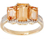 Emerald Cut 3-Stone Imperial Topaz Ring, 14K Gold 2.50 cttw - J350376