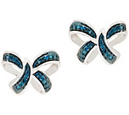 Blue Diamond Motif Earrings, 1/5 cttw, Sterling, by Affinity - J354776