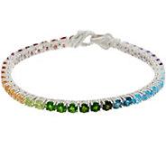 Judith Ripka Sterling Silver Rainbow Gem Tennis Bracelet 10.5cttw - J355376