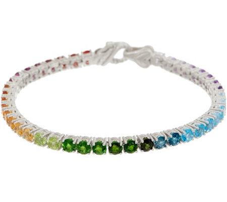 Judith Ripka Sterling Silver Rainbow Gem Tennis Bracelet 10.5cttw