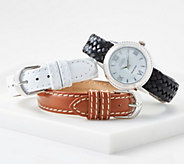 Ecclissi Sterling Silver Watch w/ 3 Interchangeable Leather Straps - J360976