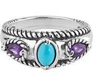 Carolyn Pollack Amethyst & Sleeping Beauty Turquoise Ring - J377376