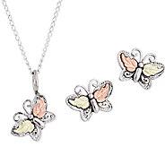 Black Hills Butterfly Pendant & Earrings Set Sterling, 12K - J379576