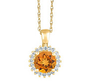 14K Gold Round Gemstone Halo Pendant w/ Chain - J382576