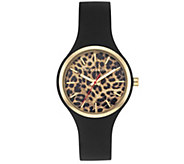 Vince Camuto Womens Leopard Black Silicone Strap Watch - J383476