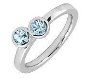 Simply Stacks Sterling & Aquamarine Double Circle Ring - J299377