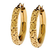Veronese 18K Clad Byzantine Design Round Hoop Earrings - J302277