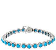 Sleeping Beauty Turquoise 7-1/4 Sterling Diamond Cut Tennis Bracelet - J326477