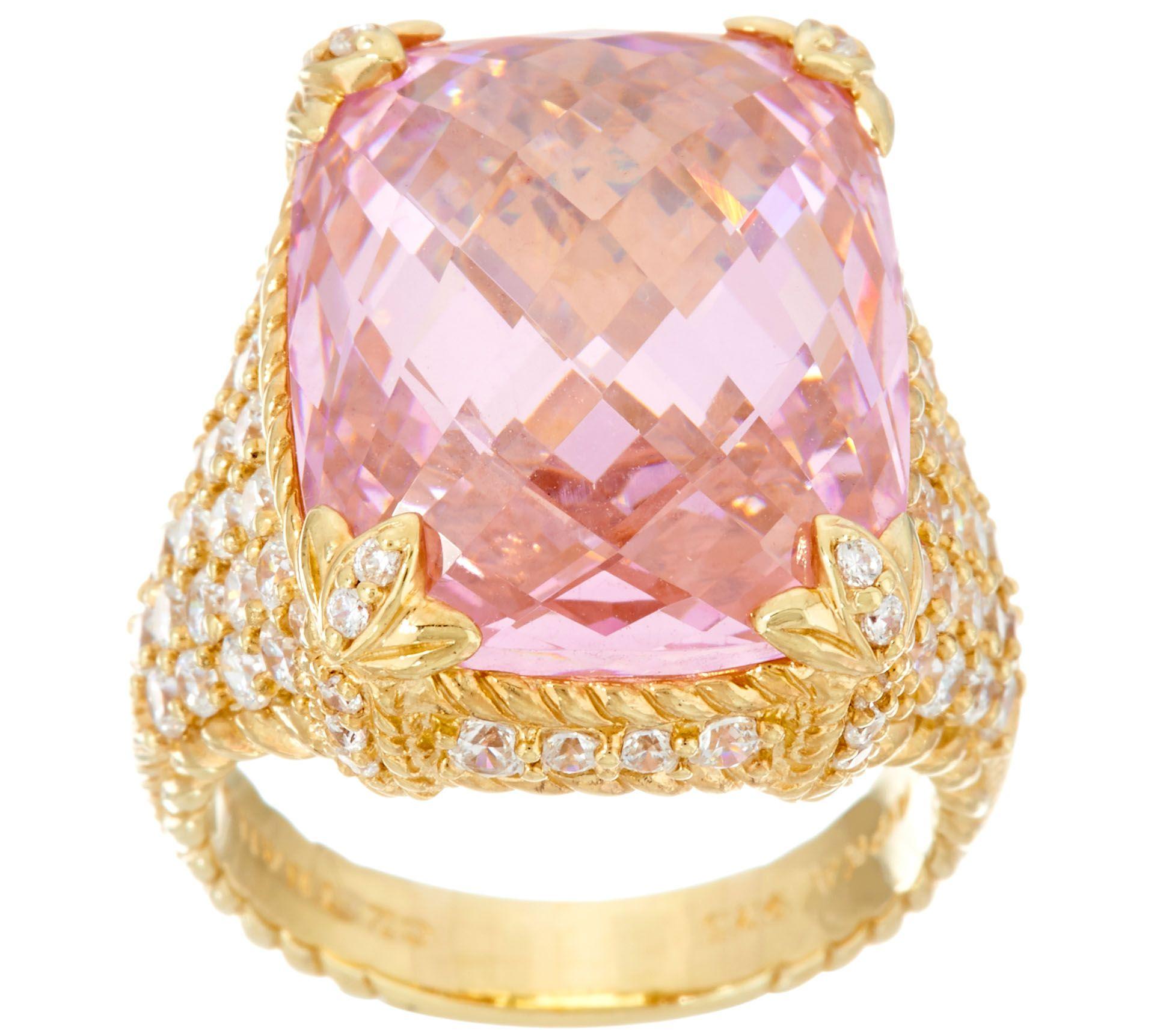 Judith Ripka Sterling / 14K Clad Pink Diamonique Monaco Ring - Page ...