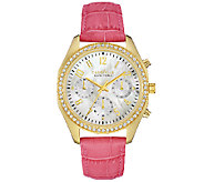 Caravelle New York Womens Crystal-Accented Pink Leather Watc - J339777