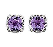 Sterling Cushion-Cut Gemstone & Diamond AccentEarrings - J343177