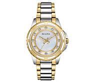 Bulova Womens Diamond Accent Two-tone BraceletWatch - J343577