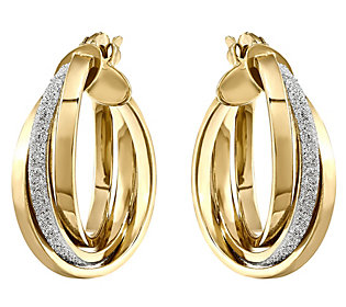 14K Gold Glitter & Polished Hinged Hoop