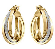 14K Gold Glitter & Polished Hinged Hoop Earrings - J343677