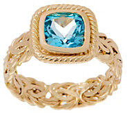 14K Gold Byzantine and Cushion Gemstone Ring - J355077