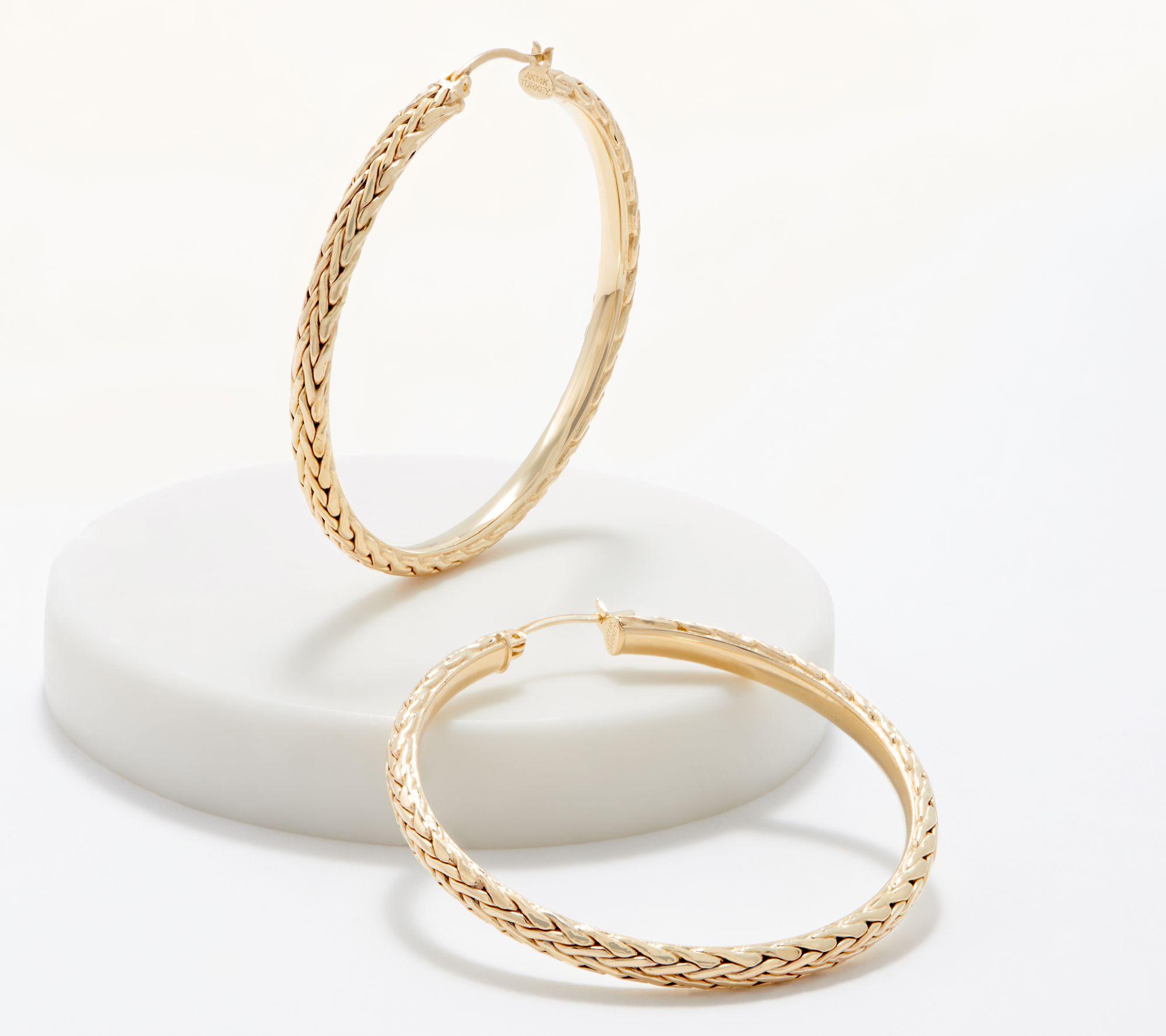 Hoop Earrings Twisted Satin Hoop W//Shiny Border
