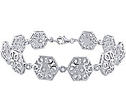 Hexagon Link Diamond Bracelet, Sterling, 1/5 cttw, by Affinit - J376477