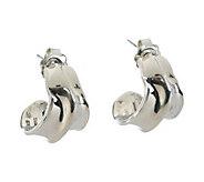 Hagit Sterling Silver Polished J-Hoop Earrings - J384177