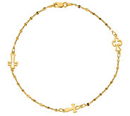 Italian Gold 14K Cross Station Ankle Bracelet,2.4g - J384877