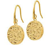 Italian Gold Oval Mesh Dangle Earrings, 14K - J385577