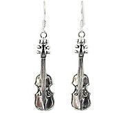 Novica Artisan Crafted Sterling Violin DangleEarrings - J308278