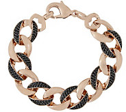 Bronze Average Black Spinel Curb Link BraceletBronzo Italia - J315178
