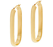 Bronze 2 Linear Design Oval Hoop Earrings by Bronzo Italia - J323878