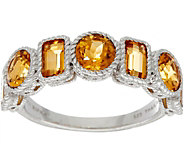 Judith Ripka Sterling Silver Seven Stone 2.00 cttw Citrine Ring - J349978