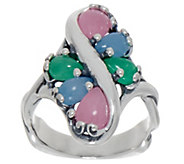 Carolyn Pollack Sterling Silver Six Stone Jade Cabochon Ring - J353878