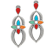 American West Multi Gemstone Sterling Silver Dangle Earrings - J356178